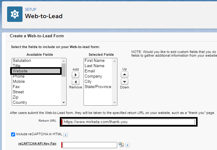 setting up web to lead form in salesforce
