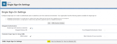 single sign-on settings in salesforce